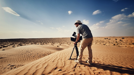 Filmmaker Ikbal Arafa in the Tunisian desert